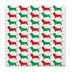 Bassett Hound Christmas or Holiday Silhouette Tile