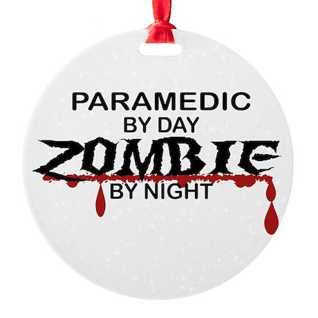 Paramedic Zombie Round Ornament