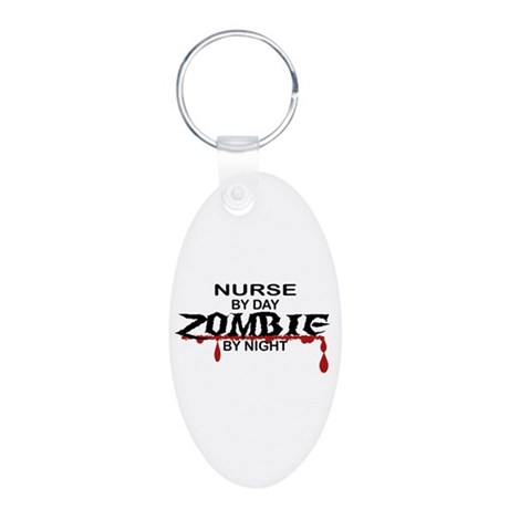 Nurse Zombie Aluminum Oval Keychain