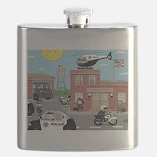 POLICE DEPARTMENT SCENE Flask