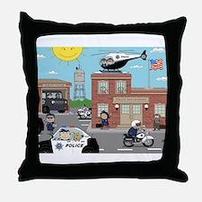 POLICE DEPARTMENT SCENE Throw Pillow