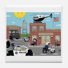 POLICE DEPARTMENT SCENE Tile Coaster