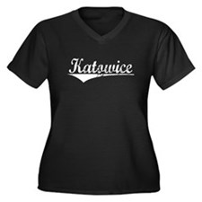 Katowice, Vintage Women's Plus Size V-Neck Dark T-