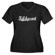 Kildysart, Vintage Women's Plus Size V-Neck Dark T