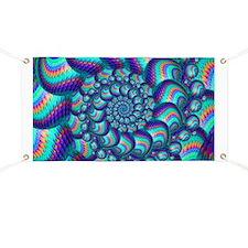 Turquoise Balls Fractal Art Pattern Banner