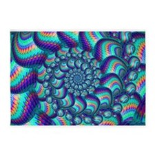 Turquoise Balls Fractal Art Pattern 5'x7'Area Rug