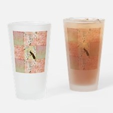 Peach Peacock and Lilies Drinking Glass