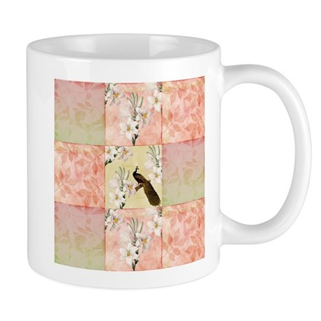 Peach Peacock and Lilies Mug