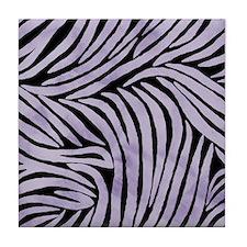 Purple and Black Zebra Print Tile Coaster