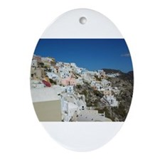Oia Santorini Ornament (Oval)