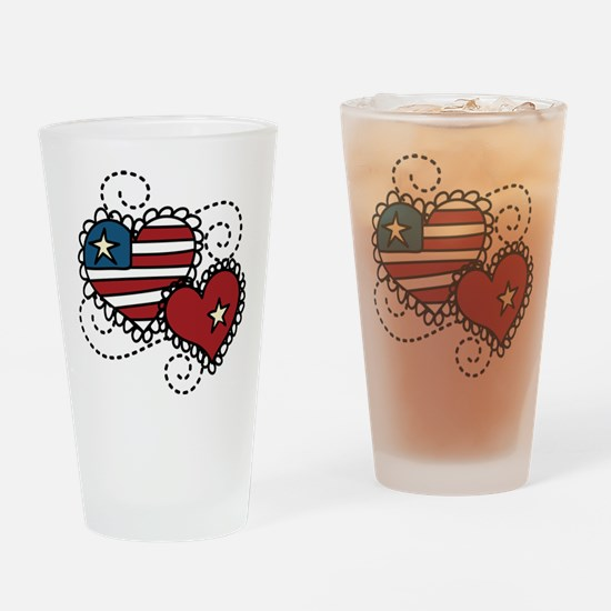 America Hearts Drinking Glass