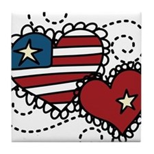 America Hearts Tile Coaster