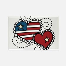 America Hearts Rectangle Magnet