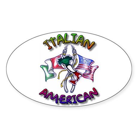 Proud Italian American Oval Sticker