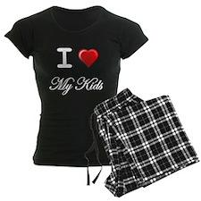 I Love My Kids White Letters Pajamas