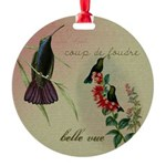 Vintage French Hummingbirds Round Ornament