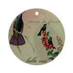 Vintage French Hummingbirds Ornament (Round)