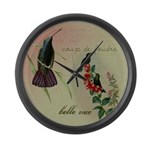 Vintage French Hummingbirds Large Wall Clock