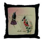 Vintage French Hummingbirds Throw Pillow