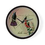 Vintage French Hummingbirds Wall Clock