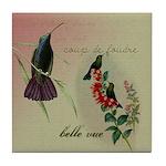 Vintage French Hummingbirds Tile Coaster