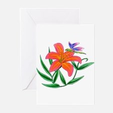 Tiger Lily and Dragonfly Greeting Cards (Package o