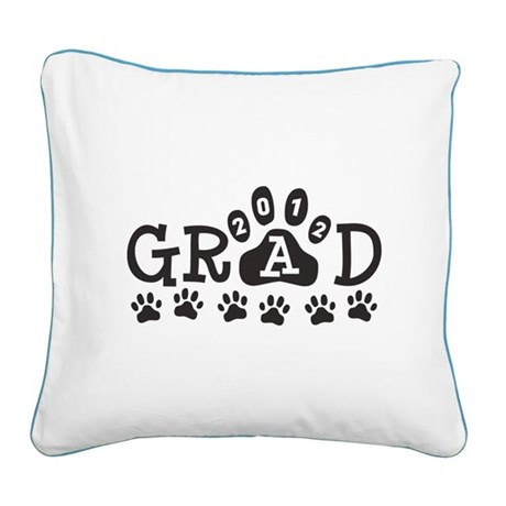 Grad 2012 Paws Square Canvas Pillow