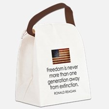 Reagan Quote on Freedom Canvas Lunch Bag