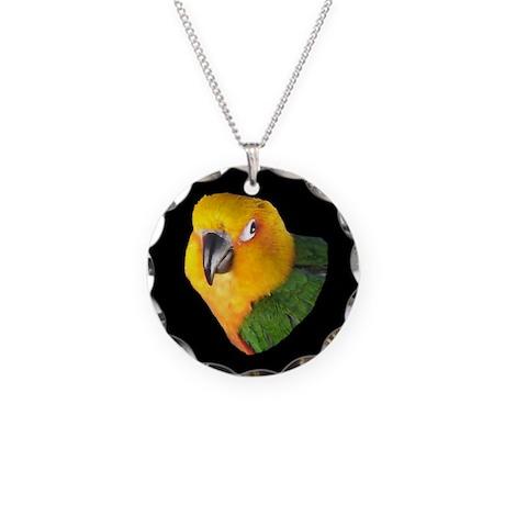 Black Beak Christmas Necklace Circle Charm