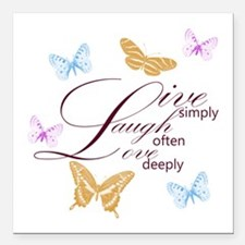 Live, Laugh, Love Simply Butterflies Square Car Ma