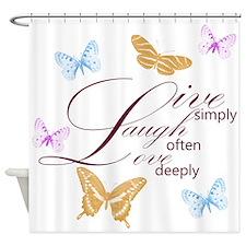 Live, Laugh, Love Simply Butterflies Shower Curtai
