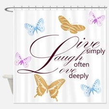 Live, Laugh, Love Simply Butterflies Shower Curtai