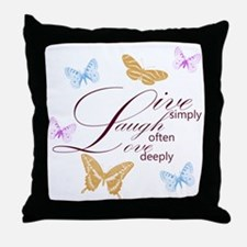 Live, Laugh, Love Simply Butterflies Throw Pillow