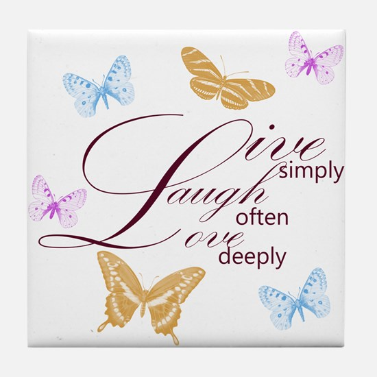 Live, Laugh, Love Simply Butterflies Tile Coaster