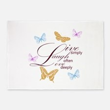 Live, Laugh, Love Simply Butterflies 5'x7'Area Rug
