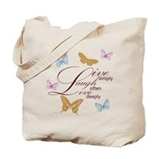 Live, Laugh, Love Simply Butterflies Tote Bag