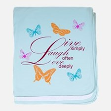 Live, Laugh, Love Simply Butterflies baby blanket