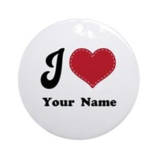 Personalized Red Heart Ornament (Round)