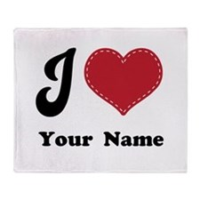 Personalized Red Heart Throw Blanket