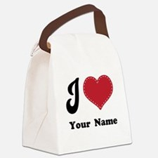 Personalized Red Heart Canvas Lunch Bag