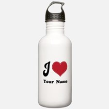 Personalized Red Heart Water Bottle