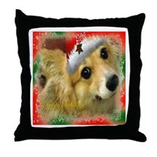 I support Rescue- Happy Holidays Throw Pillow