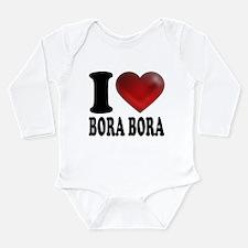 I Heart Bora Bora Long Sleeve Infant Bodysuit