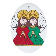 two angels.jpg Ornament (Oval)