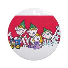 three elves.jpg Ornament (Round)