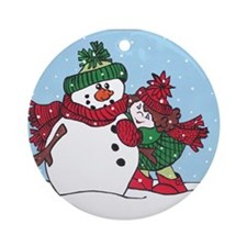 girl and snowman.jpg Ornament (Round)