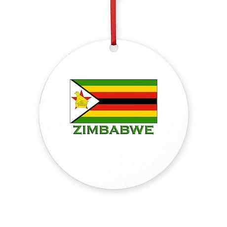 Zimbabwe Flag Gear Ornament (Round)