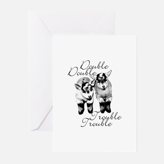 Baby Pygmy Goats Double Trouble Greeting Cards (Pk