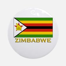 Zimbabwe Flag Merchandise Ornament (Round)