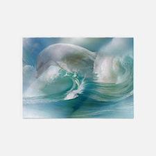 Dolphin In The Ocean 5'x7'Area Rug